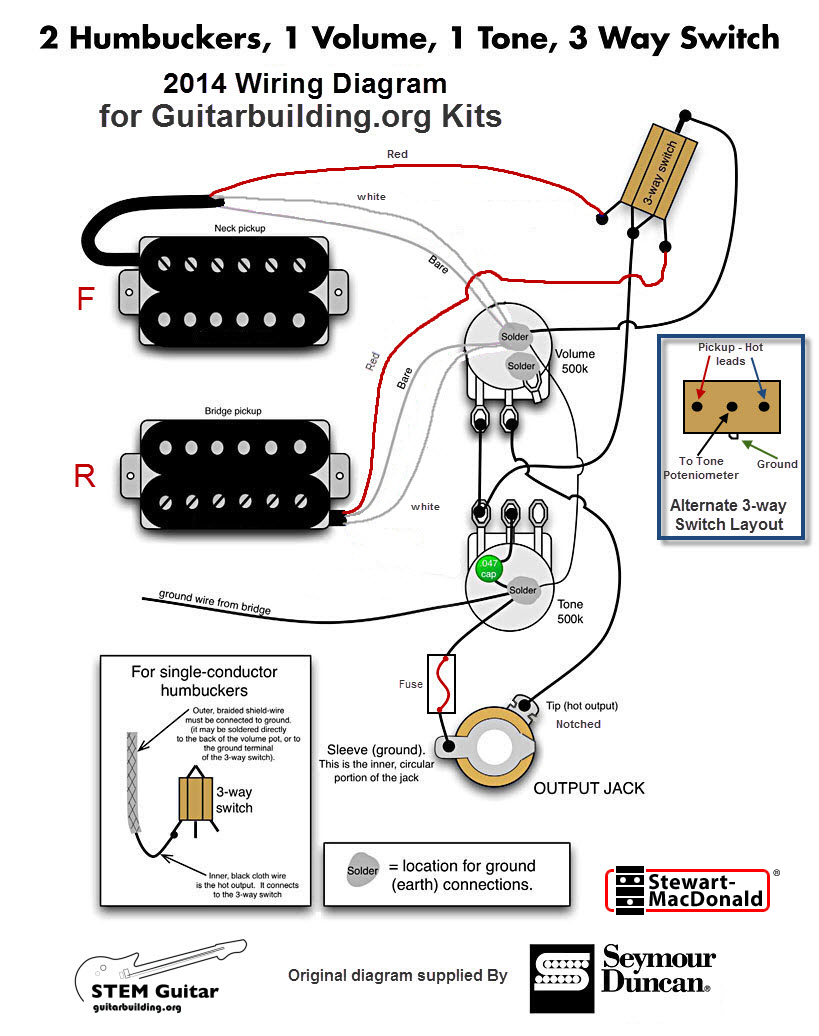 Enjoyable Electric Guitar Wiring Diagrams Olp 2 Pickups 2 Wires 1 Volume Wiring Digital Resources Hetepmognl