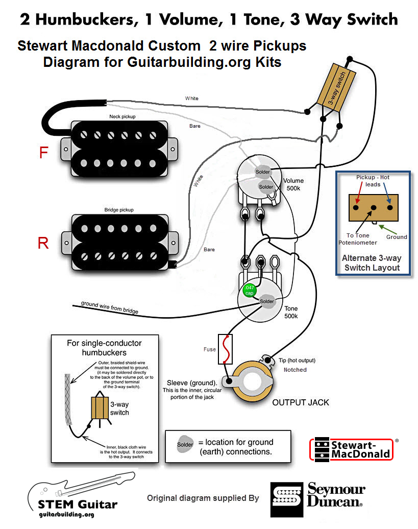electronics wiring schematics rh guitarbuilding org guitar wiring diagram 2 humbucker 2 volume 2 tone guitar wiring diagram 1 humbucker 1 volume 1 tone